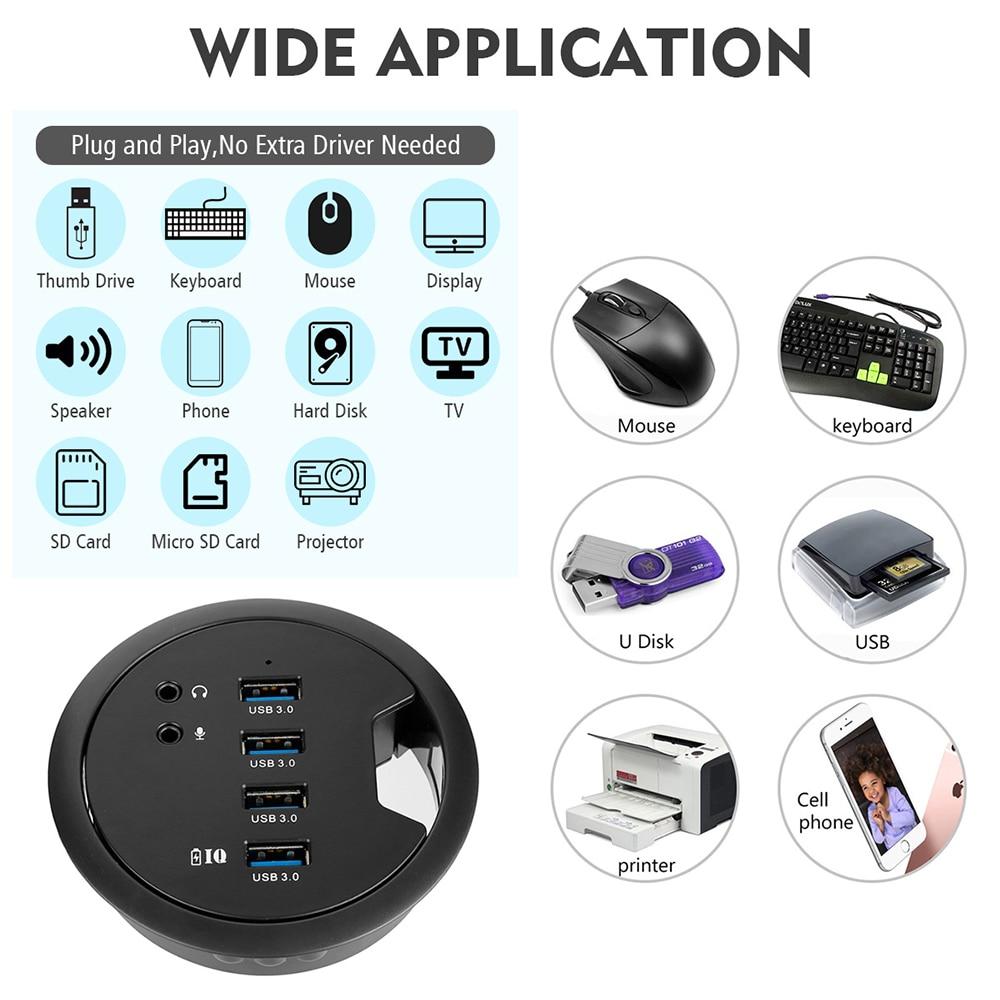 USB HUB USB3.0 monter dans le bureau Multi USB 2.0 Ports avec SD/TF casque/Mircophone adaptateur pour PC/tablette Multi USB 3.0 répartiteur